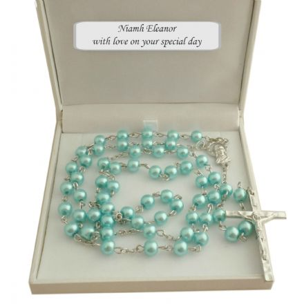 Turquoise Rosary Beads in Personalised Gift Box